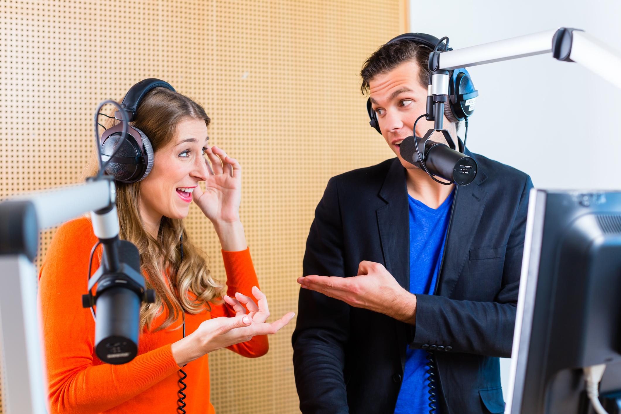 Woman and man in radio studio
