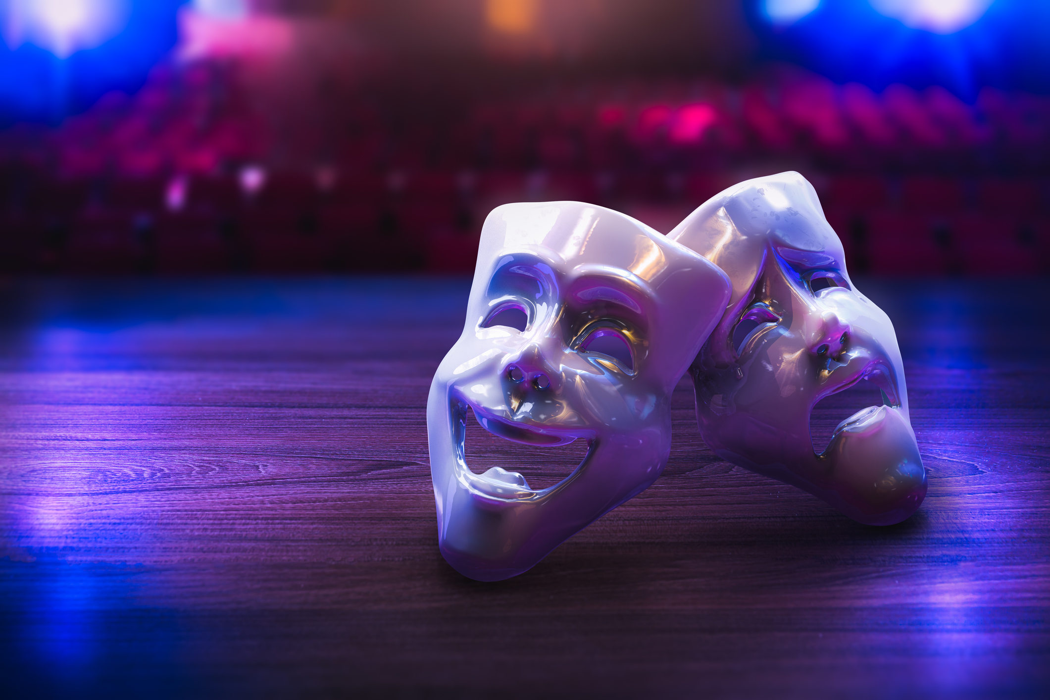 Theater masks on a stage