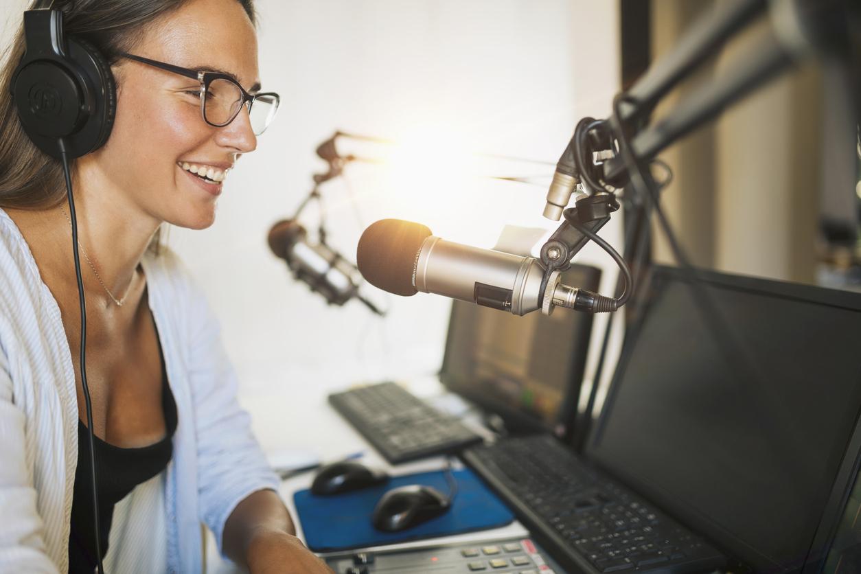 Woman talking into mic