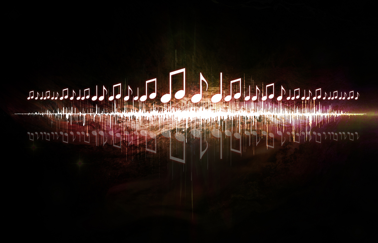 neon music notes and soundwaves mirrored against each other